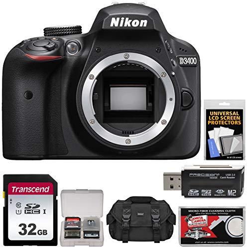 Nikon D3400 Digital SLR Camera Body (Black) with 32GB Card + Case + Kit (Certified Refurbished)