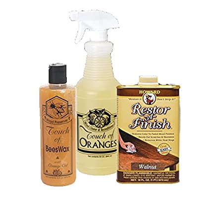 Complete Wood Restoration Kit, Wood Floor Restorer, Orange Oil Cleaner 32 oz, Beeswax Furniture Polish 16 oz, Restore A Finish 16 oz, Cover Scratches and Blemishes