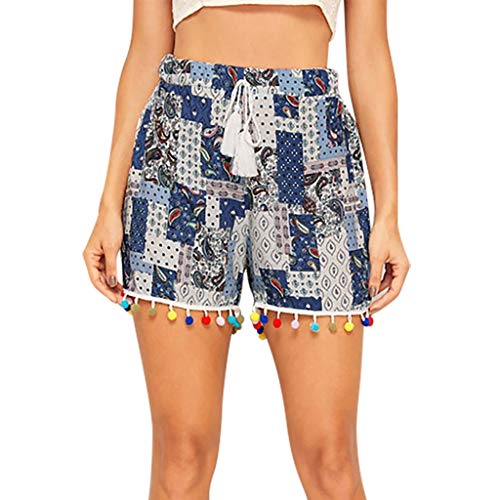 (JOFOW Shorts Womens Boho Ethnic Pattern Block Patchwork Print Tassel Balls Tie Casual Loose High Waist Mini Pants Trousers Blue)