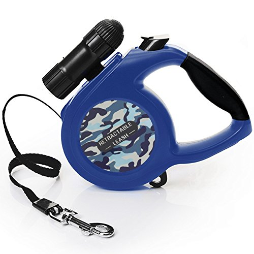 Large Breed Light (Retractable Dog Leash, 26 ft Dog Walking Leash for Medium Large Dogs up to 110lbs, One Button Break & Lock , Removable Led Flashlight, Easy Operating Dog Leash for Running, Waking, Training, Blue)