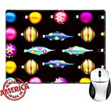 "Luxlady Natural Rubber Mouse Pad/Mat with Stitched Edges 9.8"" x 7.9"" IMAGE ID: 24006547 Neon Colored Christmas Decorations 2 Neon Colored Christmas Decorations against a Flat Black Background"