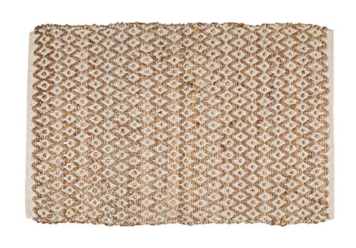 Jute Cotton Rug 2x3 Feet (24x36 inches) - Hand Woven by Skilled Artisans, for Any Room of Your Home décor - Reversible for Double The wear - Diamond Design - Jute Cotton Rug - Natural White