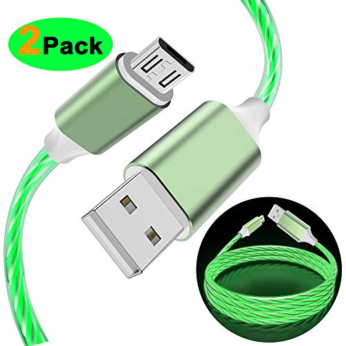 - LG Charger Micro USB Visible LED Flowing Lighting Up Fast Charger Syncing & Data Cord for Samsung Note 5 J7 Tablet, LG K30 K8 K10 2018, HTC, Motorola, Nokia, Sony and More Android Devices (Green)