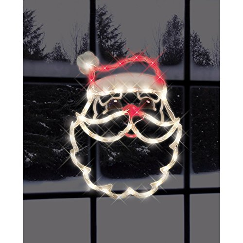"""Impact Innovations 18"""" Lighted Santa Claus Face Christmas Window Silhouette Decoration, Red"""