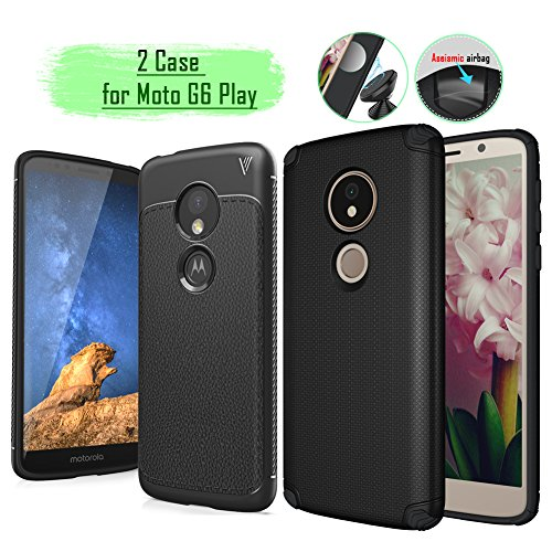 Moto G6 Play Case,Rebex 2 pcs Cases Packed Anti-Fingerprint Built-in Magnetic Metal Plate Case,Flexible Soft TPU Thin Lightweight Slim Cover for Motorola Moto G6 Play (Black)