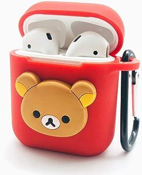 Funda Airpods Accesorios Airpods Funday Piel Protectoras de Silicona con mosquetón y Correas Airpods para Apple Airpods Estuche de Carga (Rojo-qsx): Amazon.es: Electrónica