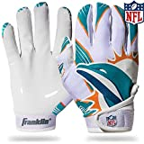 Franklin Sports Miami Dolphins Youth NFL Football Receiver Gloves – Receiver Gloves for Kids – NFL Team Logos and Silicone Palm – Youth S/XS Pair