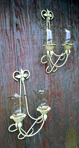 METAL, Upcycled Wall Candleholders, Distressed, Vintage, Hand Painted, Shabby Chic, Cream and Gold, Glass Globes; Rope Design