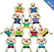 RRIBOUDWAN Wooden Stacking Games Interlock Hercules Toys Balancing Blocks Games for Kids Age 4 6 8 9 12 Adults