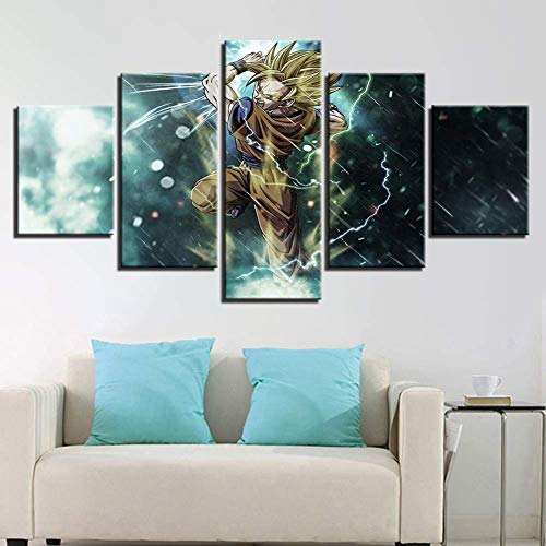 Jl 5 Piece Canvases Print Dragon Ball Z Goku Wall Art Picture Print on Canvas Giclee Artwork for Wall Decor,A,20x352+20x452+20x551