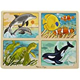 Melissa & Doug Sea Life 4-in-1 Wooden Jigsaw Puzzle - Dolphin,