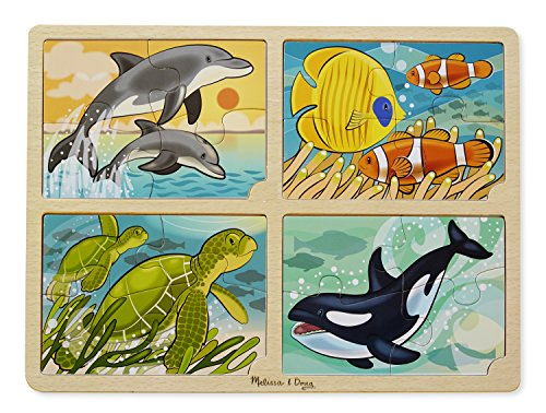 Melissa & Doug Sea Life 4-in-1 Wooden Jigsaw Puzzle - Dolphin, Tropical Fish, Turtle, and Orca Whale (Whale Jigsaw)