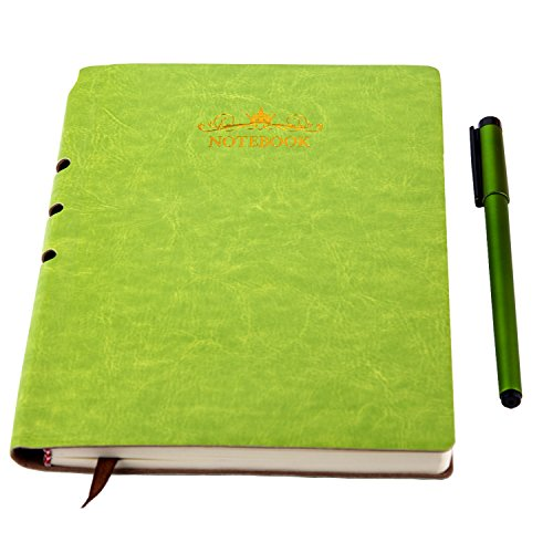 Classic Notebook with Pen - Soft Leather Hardcover 100gsm Pages Dividers Notebook A5 (8.3x5.1 In) 200 Pages - Perfect for journals to Write in Green by DIGGOLD