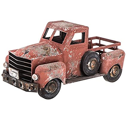 red pickup metal truck farmhouse country rustic decor vintage table wedding perfect for succulents and faux