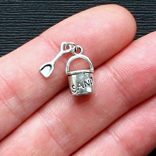 Collection Pail - Extensive Collection of Charm 5 Beach Pail Charms Antique Silver Tone 3D with Dangle Shovel - SC1927 Express Yourself