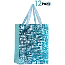 "Premium Gift Bags With Ribbon Durable Handles For Men & Women –Sturdy & Beautiful Present Bags For Birthday, Christmas & Holiday Gifts, Eye Catching Design 9""x 7""x 4"" 12 Pack (Blue)"