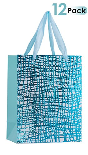 """Premium Gift Bags With Ribbon Durable Handles For Men & Women –Sturdy & Beautiful Present Bags For Birthday, Christmas & Holiday Gifts, Eye Catching Design 9""""x 7""""x 4"""" 12 Pack (Blue) (Eye Gift Bags)"""