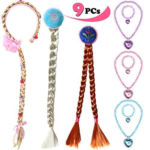 ANNTOY Rapunzel Wig Elsa Wig Anna Wig 9 Pcs Necklace Bracelet Braided Wigs Princess Dress Up for Kids Girls -