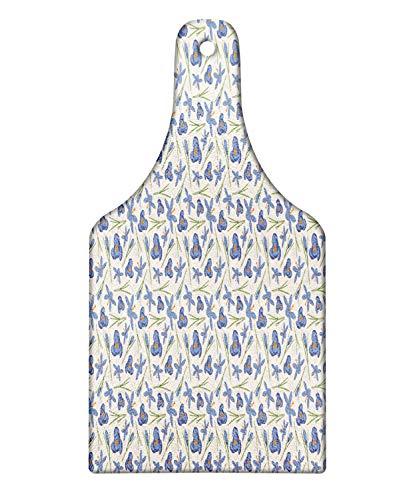 Lunarable Flower Cutting Board, Abstract Design Crocuses Floral Pattern, Decorative Tempered Glass Cutting and Serving Board, Wine Bottle Shape, Dark Ceil Blue Reseda Green Marigold Eggshell ()