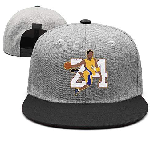 Men&Women Basketball MVP 24 Bryant Flat Adjustable Peak Cap Dad Strapback Hat (Kobe Bryant Hat)