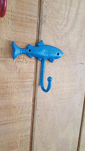 (Fish wall hook, cast iron fish hook, man cave hook, angler decor, fishing decor, cabin decor, coat hook, clothes hook, towel hook)