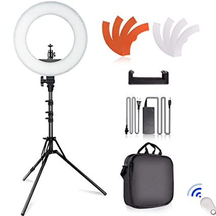 SAMTIAN LED Ring Light 14 inches Outer YouTube Light 180 Dimmable LED  Lighting Kit with 2M 57524ed842