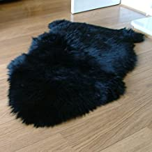 Sheepskin Rug Single - Genuine Sheepskin Fur (Black)