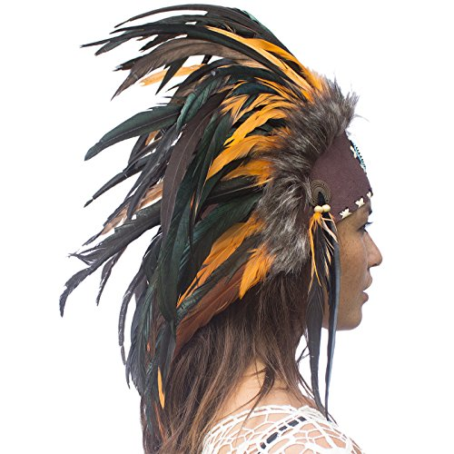 Unique Feather Headdress- Native American Indian Inspired- Handmade by Artisan Halloween Costume for Men Women with Real Feathers - Orange with (Chief Indian Princess Costume)