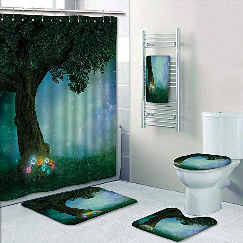 Bathroom 5 Piece Set shower curtain 3d print Customized,Forest Decor,Fairytale Little Red Riding Hood Forest at Night with Flowers and Stars Image,Multicolor,Bath Mat,Bathroom Carpet Rug,Non-Slip,Bath