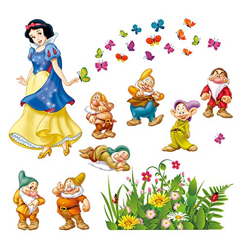 and The Seven Dwarfs Wall Decals Princess Wall Stickers Peel and Stick Removable Vinyl Wall Art for Kids Bedroom Nursery Girls Room ()