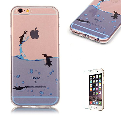 iPhone 6 Plus/6S Plus TPU Case with Free Screen Protector,Funyye See Through Transparent Soft Rubber Silicone Gel TPU Bumper Ultra Thin Colourful Print Design Protective Case - Swimming (Cartoon Character Couples)