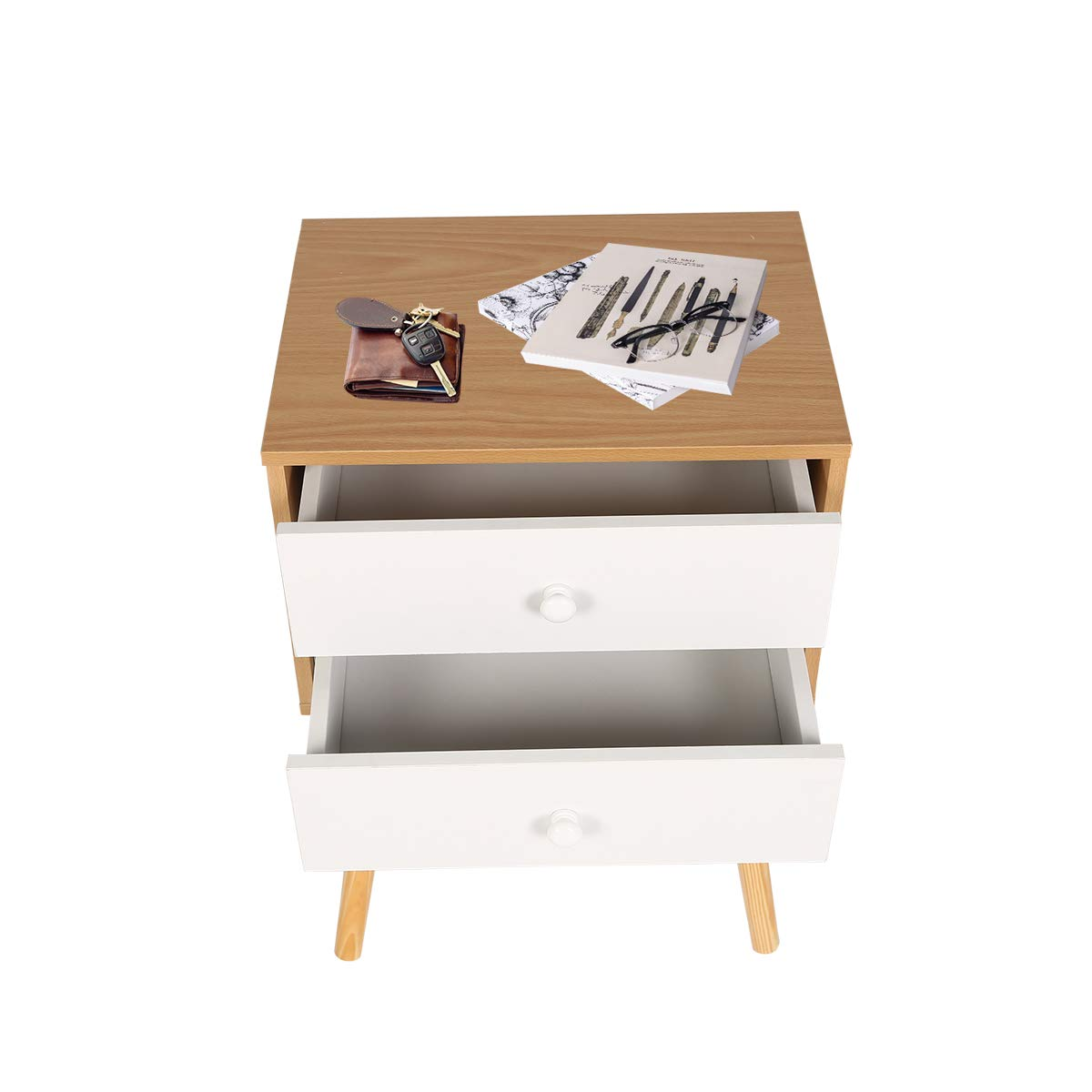 HAPPY /& HOME Modern 2 Drawer Bedside Table Nightstand Storage Unit End Table-40x30x60cm