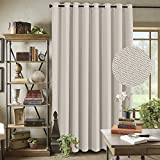 H.VERSAILTEX Primitive Linen Look Room Darkening Thermal Insulated Living Room/Patio Door Curtains, Antique Grommet Window Drapes, 100 by 84 Inch-Ivory(1 Panel)