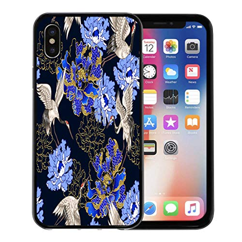 (Semtomn Phone Case for Apple iPhone Xs case,Red Flower Japanese White Cranes and Peony Embroidered Sequins Pattern Asian for iPhone X Case,Rubber Border Protective Case,Black)
