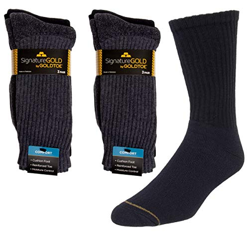 Gold Toe Mens Socks (6 Pairs) Cotton Socks, Moisture Wicking Socks, Mens Dress Crew Socks Fit Over The Calf (Toe Socks Cotton Gold)