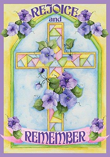 Rejoice & Remember Easter Garden Flag Religious 12.5