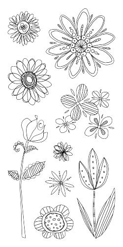 Inkadinkado Inkadinkado Inkadinkado Doodle Flowers Clear Stamps by Inkadinkado 0ef57b