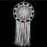 Whitelotous Handmade White Lace Dream Catcher Macrame Tassels Car Window Wall Hanging Decor