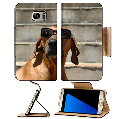 MSD Premium Samsung Galaxy S7 Edge Flip Pu Leather Wallet Case A beautiful and funny Rhodesian Ridgeback hound dog head portrait sunglasses IMAGE - Depot Sunglass