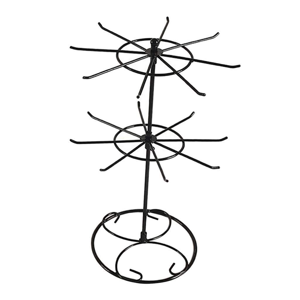 Dovewill Rotating Iron 2-Tier Revolving Stand Rack Jewelry Holder Display with 16 Hooks