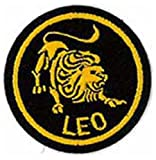 Leo Zodiac Horoscope Embroidered Patch (Black/Gold) 5cm Dia