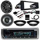 Kenwood CD Bluetooth Marine Radio, 2X Kicker 6.5' CS 300 Watt Speakers, Dash Install Kit, Speaker Adapters, Thumb Control Interface, Antenna - Fits 1998-2013 Harley Davidson FL Models