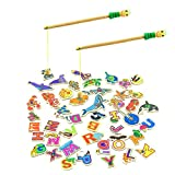 MEIGO Magnetic Fishing Game - Toddler Wooden Magnet Animals and Letters Educational Toys for Kids 2 3 4 5 Year Old Boys Girls (46pcs)