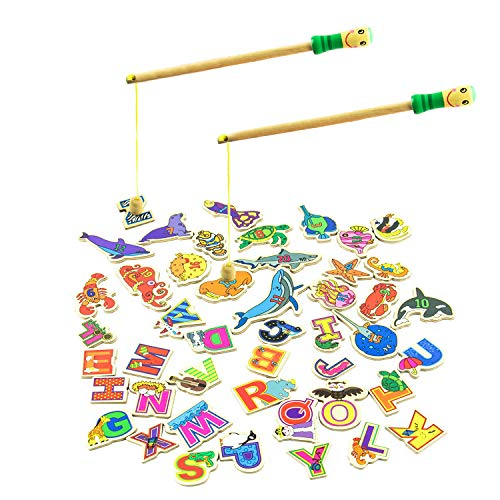 (MEIGO Magnetic Fishing Game - Toddler Wooden Magnet Animals and Letters Educational Toys for Kids 2 3 4 5 Year Old Boys Girls (46pcs))