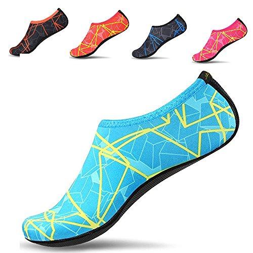 JACKSHIBO Men Women Quick-Dry Water Skin Shoes Aqua Socks for Water Sports Swim Surf Yoga Exercice Beach,Green B M
