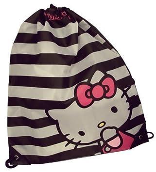 4c41bbe71c11 Hello Kitty Girls Stripes Drawstring Kids Gym Bag - Black   White   Amazon.co.uk  Kitchen   Home
