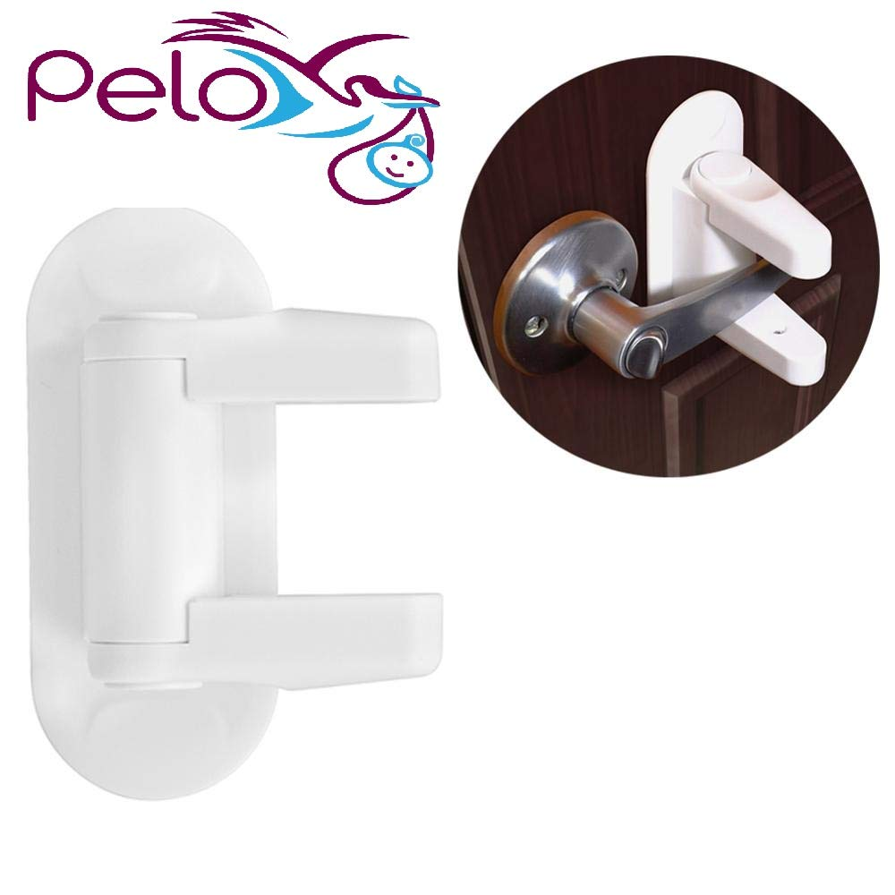 Door Lever Child Safety Lock with 3M Adhesive by Pelo (White) (2-Pack)