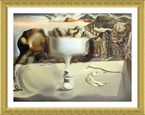 Alonline Art - Apparition Of Face Fruit Dish Salvador Dali Gold FRAMED POSTER (Print on 100% Cotton CANVAS on foam board) - READY TO HANG | 38