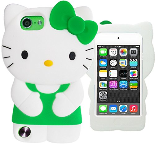 Pretty-3D-Hello-Kitty-Green-White-Case-for-Apple-iPod-5-iPod-6-Touch-Gen-Protective-Dress-Bow-Cute-Silicone-Cover-Skin-with-FREE-HELLO-KITTY-WATERPROOF-PRINCESS-KITTY-STICKER