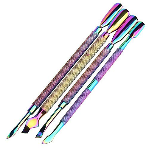 Aabbye Cuticle Pusher Scraper Kit, Rainbow Stainless Steel Cuticle Remover Manicure and Pedicure Tool Set for Fingernails & Toenails